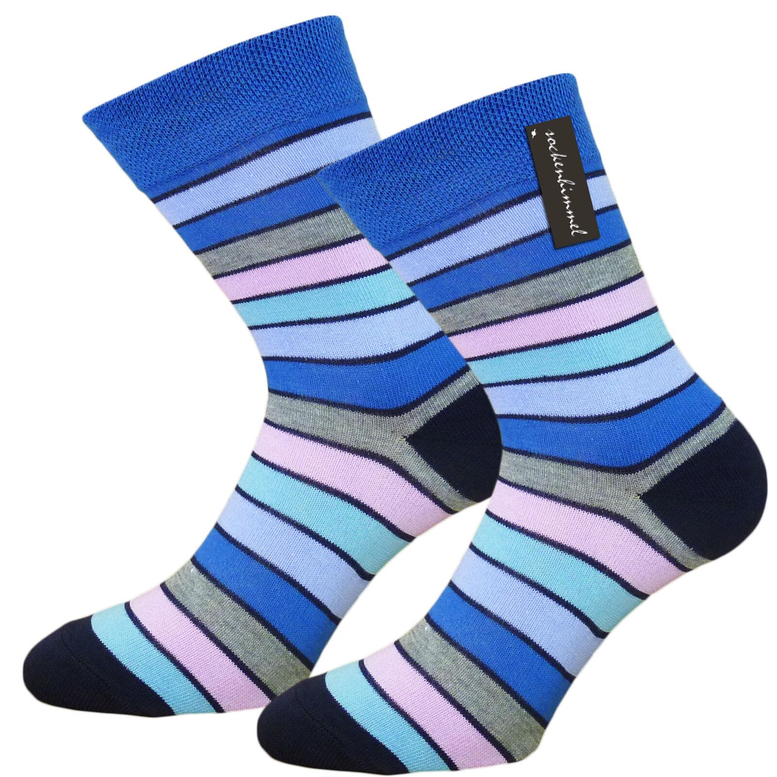 Bunte Socken Damen Ringelsocken ohne Gummidruck 6 Paar Komfortsocken Gr. 35 - 42