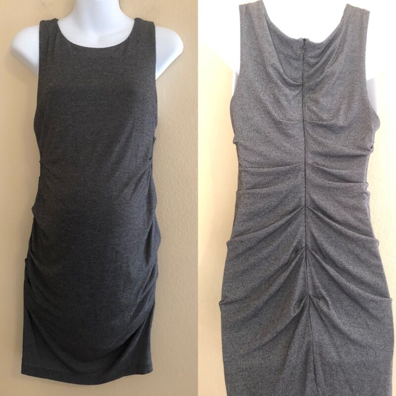 A Pea In The Pod Maternity Medium Large M L Gray Dress Ruched Sleeveless Bodycon