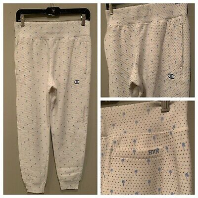 CHAMPION x HVN Reverse Weave All Over Print JOGGERS SWEATPANTS Small Palm Tree