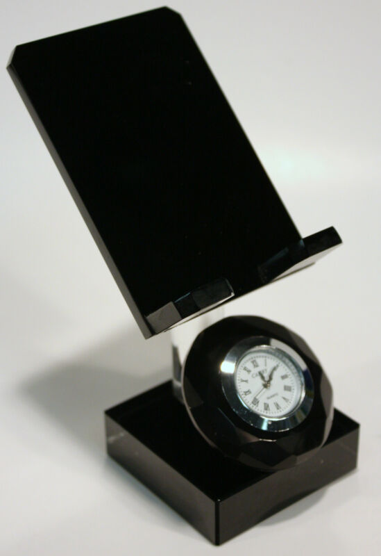 EASEL STAND & CLOCK ACRYLIC CRYSTAL GREAT FOR BUSINESS CARDS SMALL PHOTOS & MORE