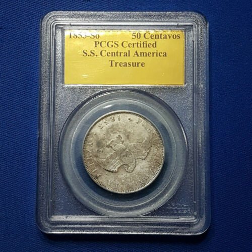 1853-So Chile Silver 50 Centavos PCGS certifiedShipwreck SS Central America -A91