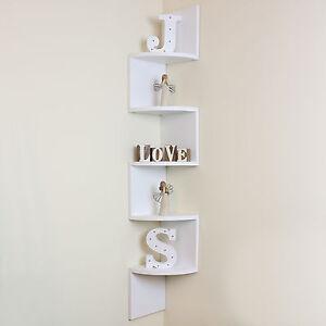 5 Tier White Wall Mounted ZigZag Corner Floating Shelf/Shelves Display Wood Unit