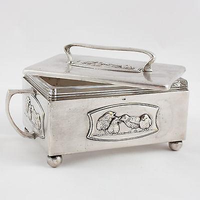 Art déco Schmuckschatulle Metall Versilbert 1920 Ungarn Casket Silver plated
