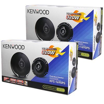 "4 NEW KENWOOD 6.5-INCH 3-WAY CAR AUDIO COAXIAL SPEAKERS PAIR 6-1/2"" 640W MAX"