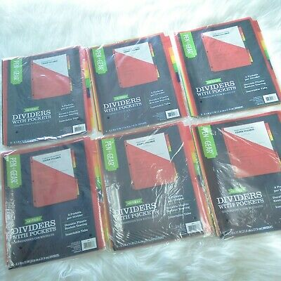 Lot Of 6 New Pen Gear 8-tab Dividers With Pockets