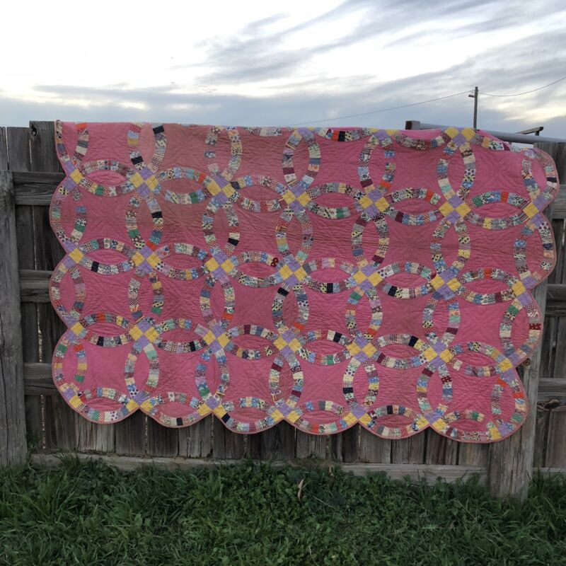 Antique Pink Double Wedding Ring Flour Sack Quilt 1930