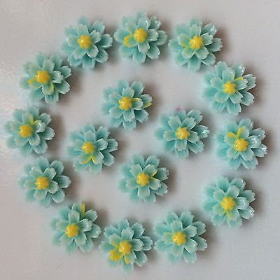NEW DIY12pcs blue Resin flower flat back Scrapbooking For phone/craft