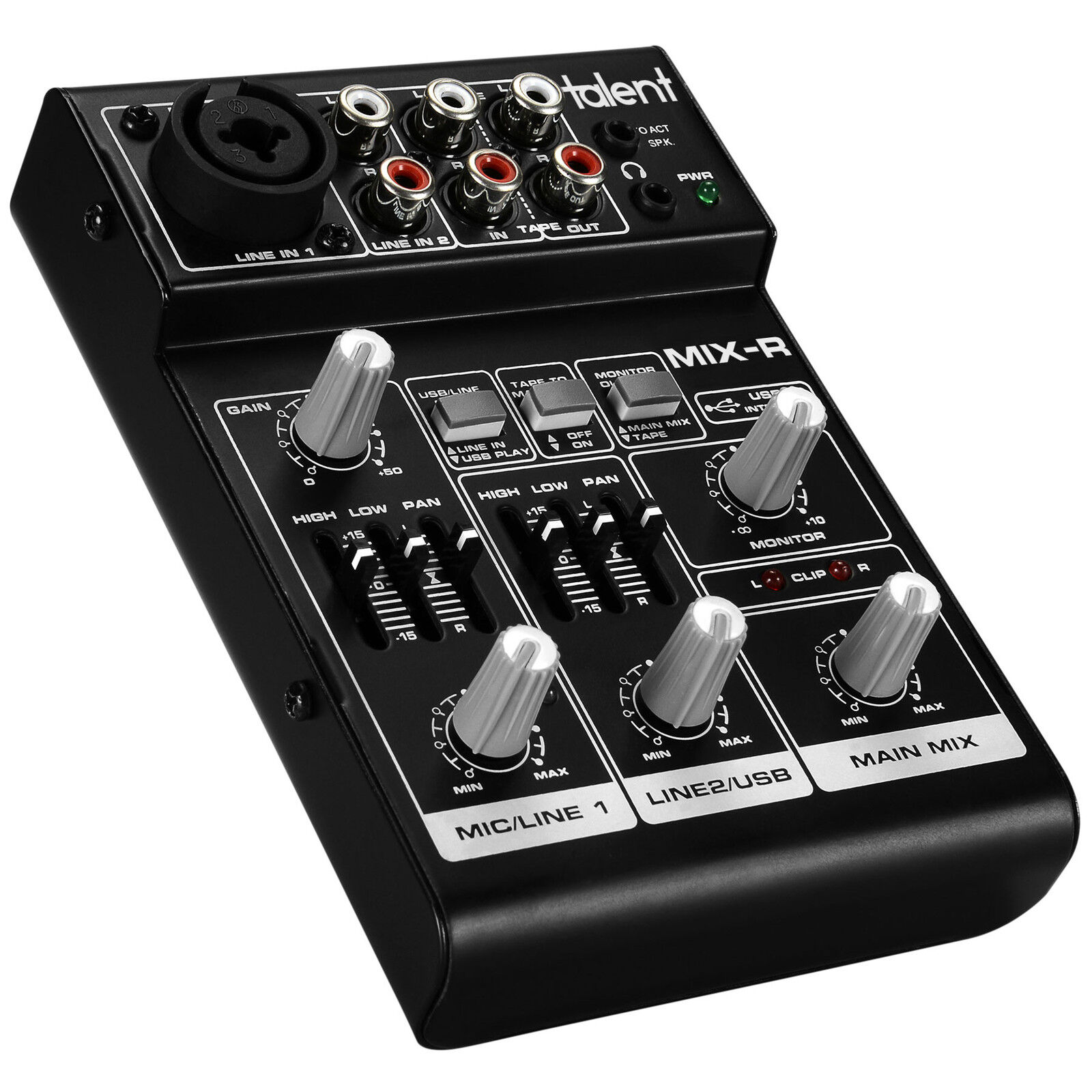 Talent Mix R Mini Portable 3 Channel Mixer With Usb Audio In