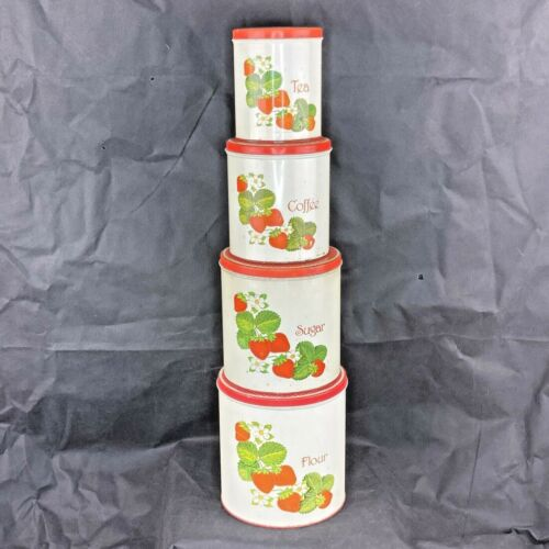 VTG Kitchen Canisters Red Strawberries & Polkadot Lids 1950s Full Set Of 4