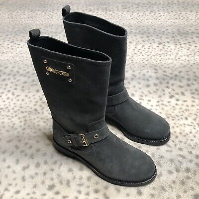 Love Moschino Grigio Leather Boots Gray Gold Hardware Buckle Vamp Branded Side