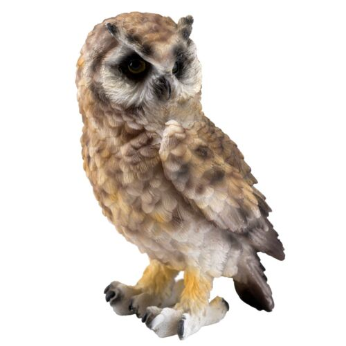 """Brown Horned Owl Figurine 5.25"""" High Detailed Resin Statue New"""