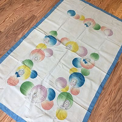 """Vintage 1920's Embroidered Hand Tinted Baby Faces Crib Coverlet Blanket  35x55"""""""