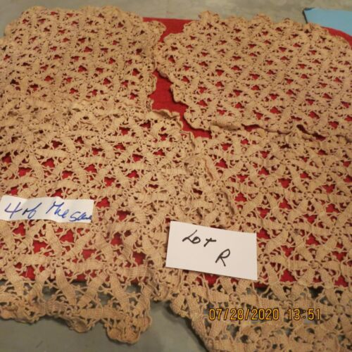 VINTAGE CROCHET DOILY  4 PLACE MATS   ECRU PILLOWS    THROW   BE CREATIVE
