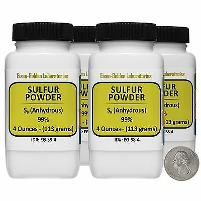 Sulfur Powder S8 99 Acs Grade Powder 1 Lb In Four Space-saver Bottles Usa