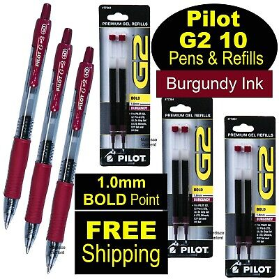 Pilot G2 10 Burgundy 1.0mm Bold Point Burgundy Gel Ink Rollerball Pens Refills