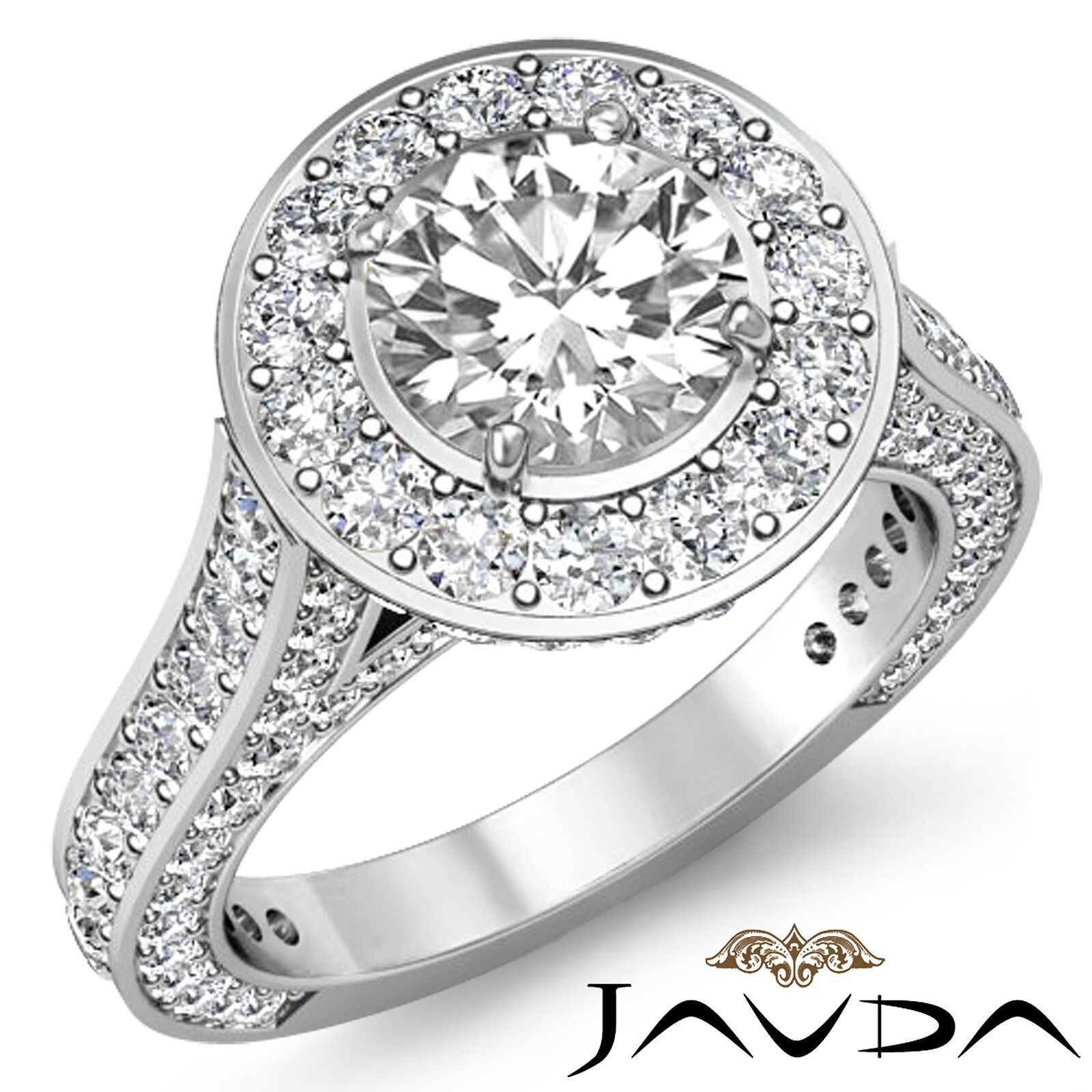 Bridge Accent Halo Round Cut Diamond Engagement Micro Pave Ring GIA H VS1 3.6Ct