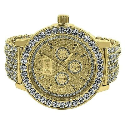 Yellow Gold Tone Men's Solitaire  Bezel Real  Genuine Diamonds Custom Band Watch Gold Tone Solitaire