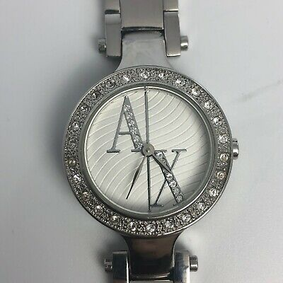 ARMANI EXCHANGE STAINLESS STEEL WOMENS WATCH SWAROSKI DIAMONDS SILVER AX3027
