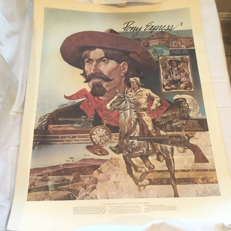 OLD WEST PONY EXPRESS RIDER Poster Large 34x25 On Heavy Stock