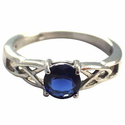 Celtic September Birthstone Ring Dark Blue Cubic Zirconia Engagement Size 5-10 Blue Sapphire Celtic Ring