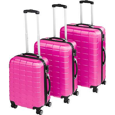 Set de 3 valises de voyage coque ABS léger rigide bagages valise trolley rose