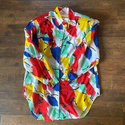 80s Tops, Shirts, T-shirts, Blouse   90s T-shirts Vintage C.E.O. 1980s Bright Vaporwave-Style Long Sleeve Button Down Shirt $30.00 AT vintagedancer.com