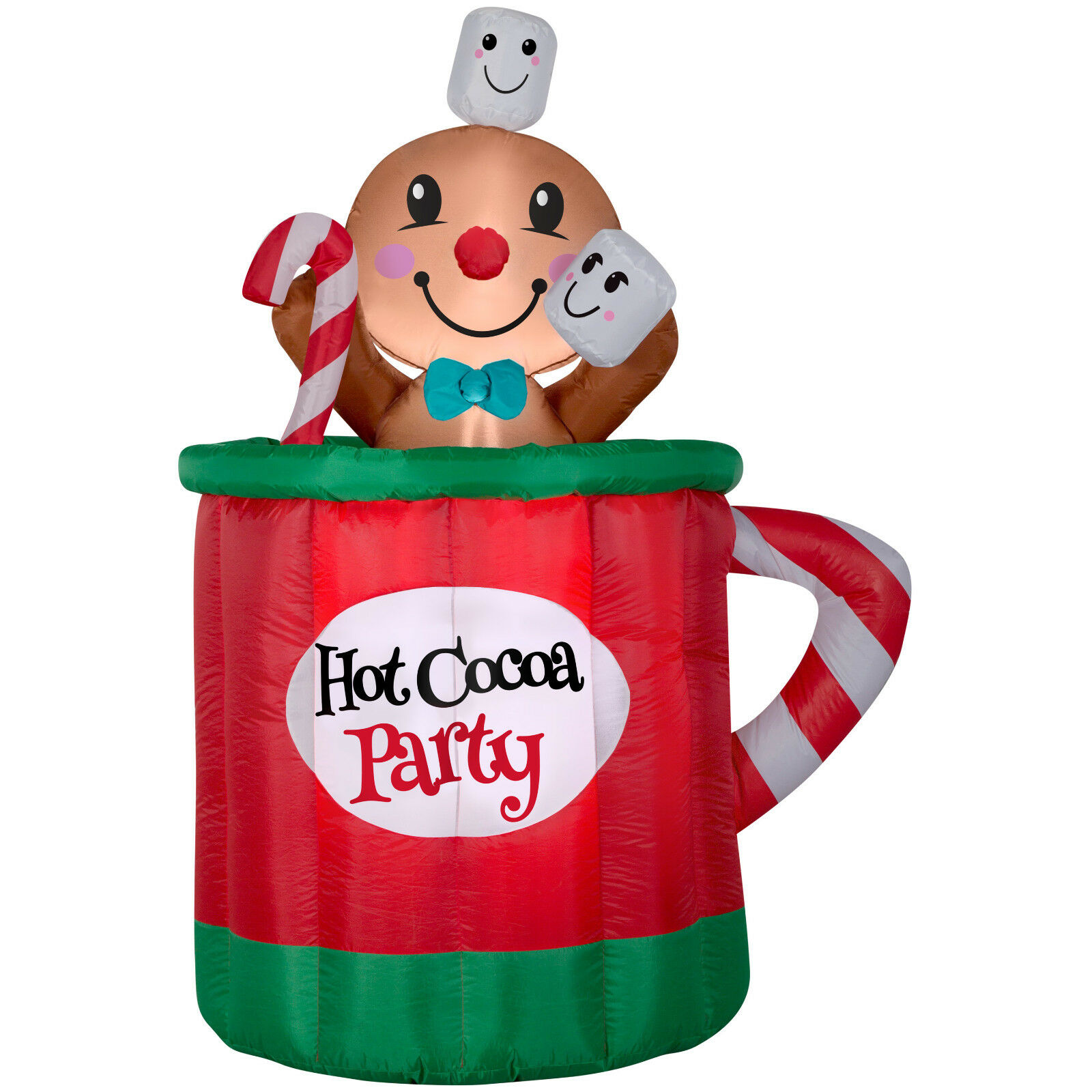 Christmas Santa Animated Gingerbread Man In Cup Of Cocoa Airblown Inflatable