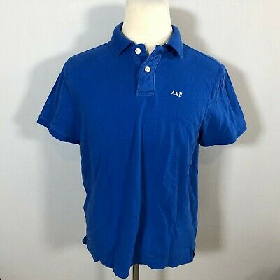 A&F Abercrombie & Fitch Men Polo Shirt Top Size XXL Muscle Fit Solid Blue F30