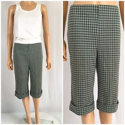 Vintage 1960s Pedal Pusher Pants Clam Diggers Pull On Crop Pant Diamond Print (1960's Womens Pants)