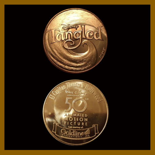 Disney Tangled Gold Color Coin, 2010 (El Capitan Theater, 50th Animated Picture)
