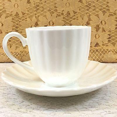 Nikko Fine Bone China White Tie Tea Cup & Saucer Set Pristine Condition Rare Nikko Fine Bone China