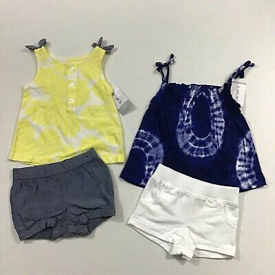 Carters NWT Girl 6 Months 4 Piece Outfit 2 Shorts Bloomers 2 Tank Top Tye Dye