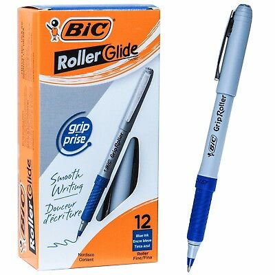 Bic Grip Roller Glide Gre11 31204 Blue Ink 0.7mm Fine Point Box Of 12 Pens
