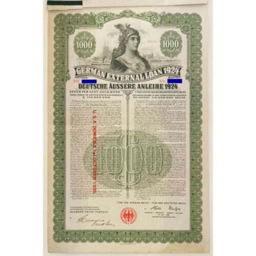 GERMANY 1924 German Loan 7% Gold Bond $1,000 8 coupons REAL ONE Uncancelled