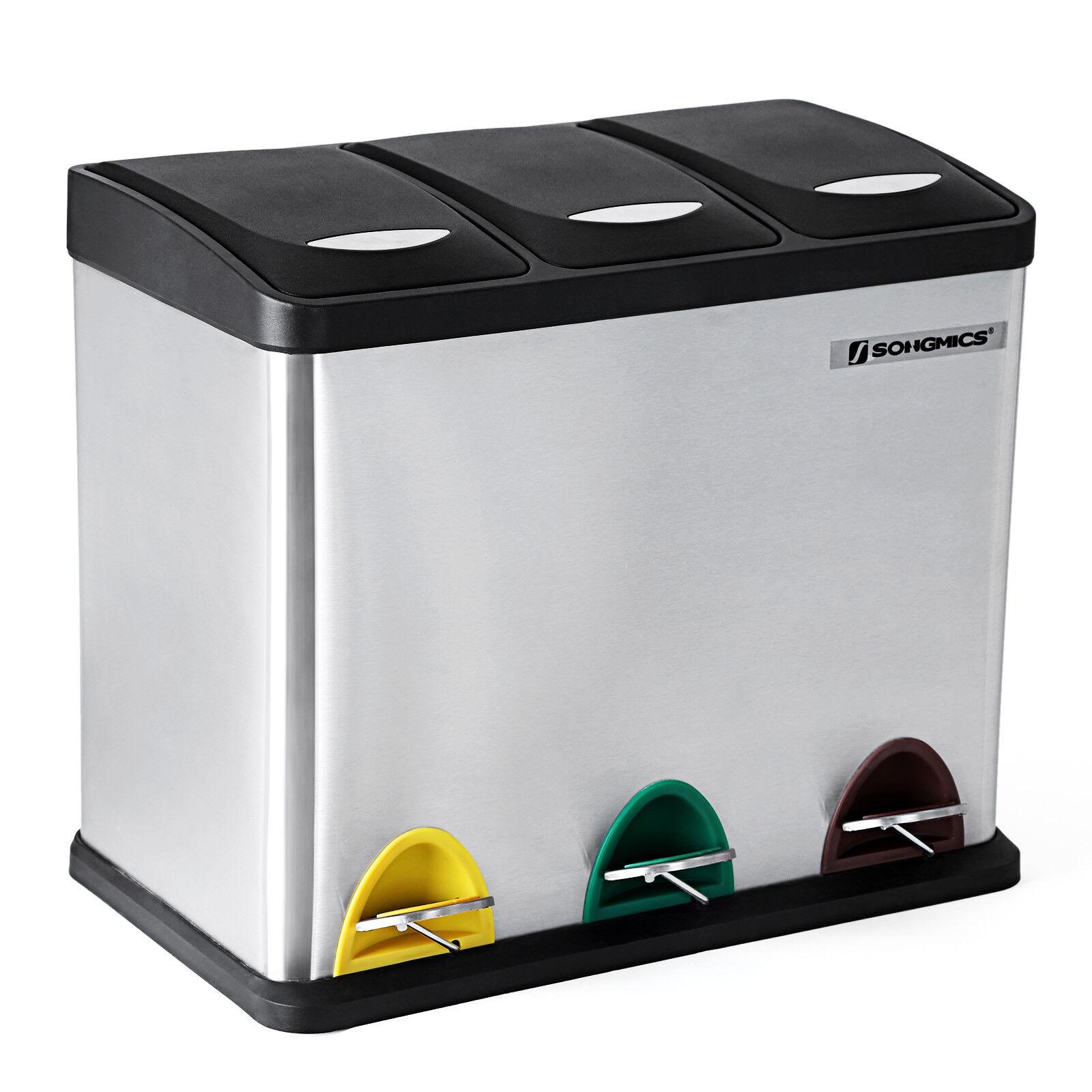 Mülleimer Abfalleimer Edelstahl Recycling Papierkorb Mülltrenner Küche LTB24L