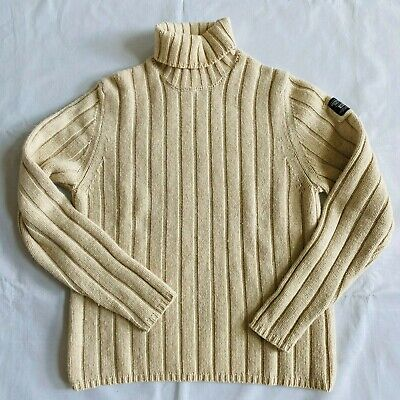 Abercrombie & Fitch Mens Muscle Sweater Turtleneck Lambswool LS Pullover Used XL