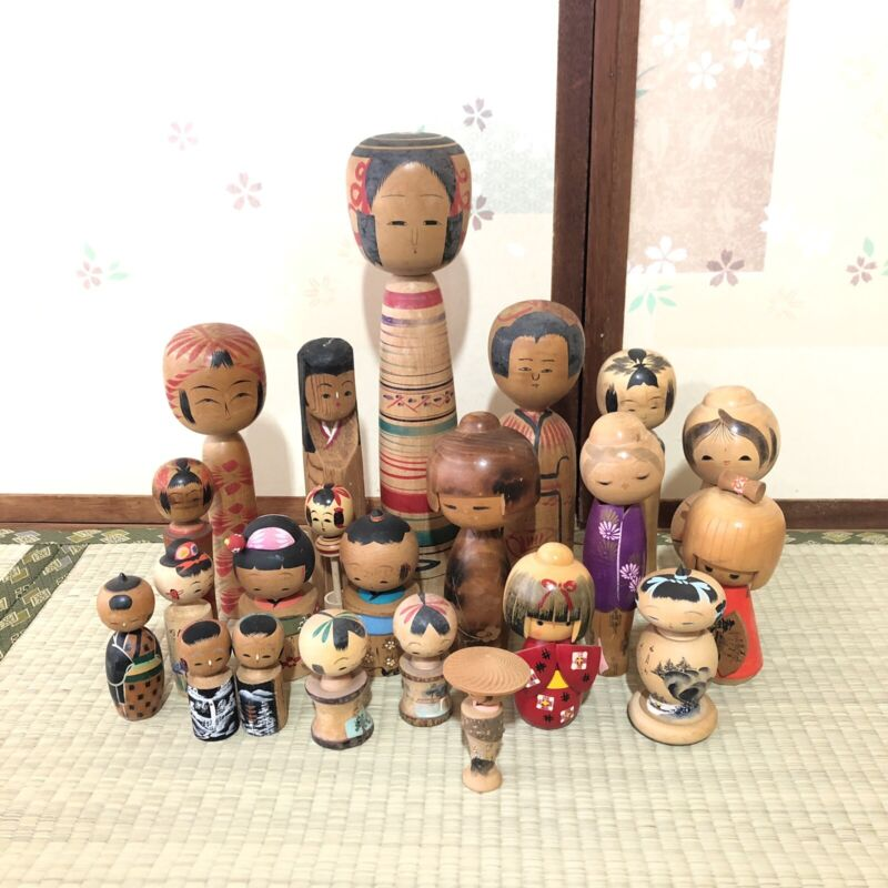 Kokeshi Doll Lot of 22 Japanese Wooden Kawaii Girl Vintage Signed SK