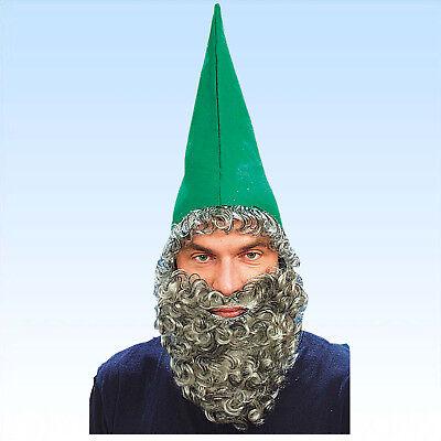 Grüne Zwergenmütze mit Bart Hut für Zwerge Gnom Märchen Karneval Kostüm Fasching