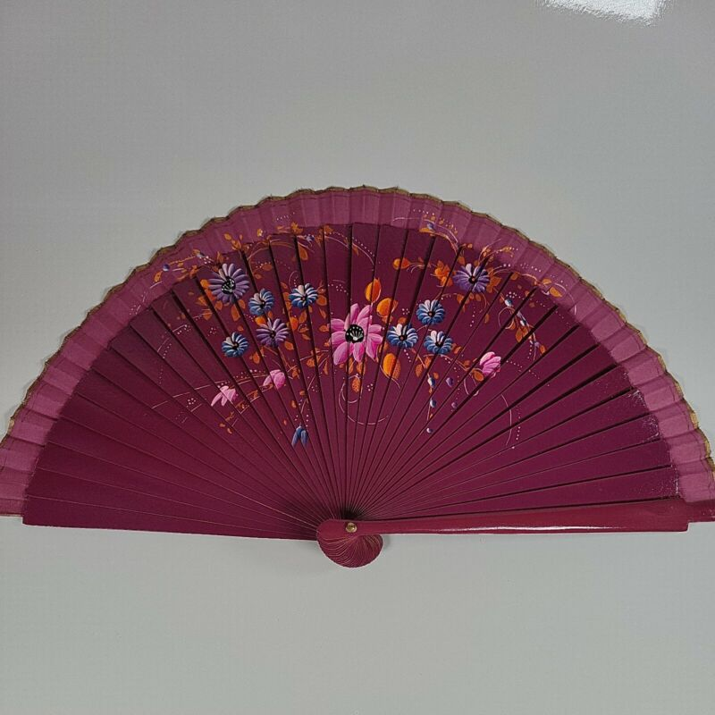 Asian Style Collapsible Hand Fan Purple With Floral Design