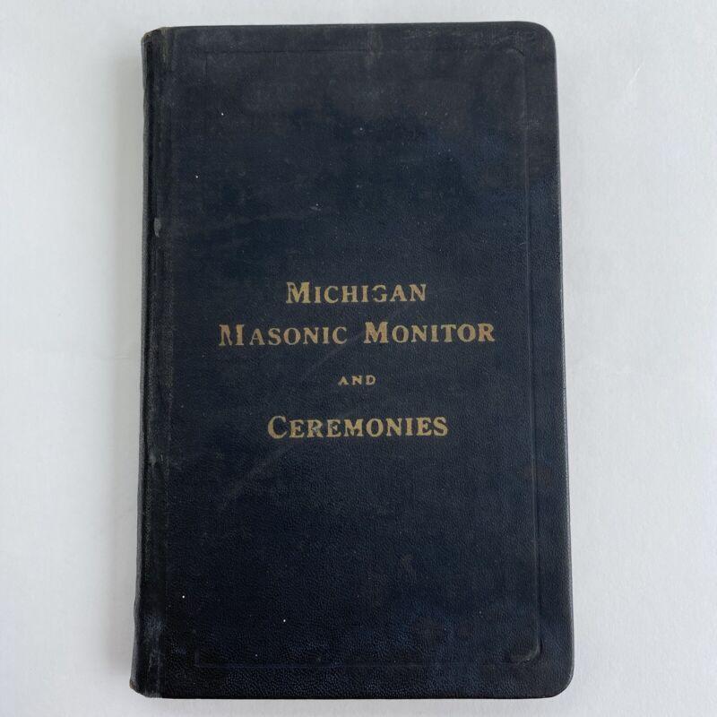 Michigan MASONIC Monitor 1912 Vintage Book Masons Rituals Ceremonies Pocket Size