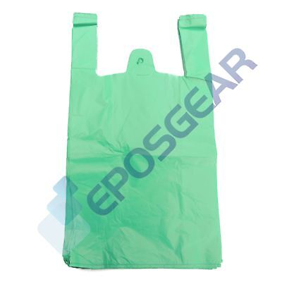 2000 Large Green Strong Recycled Eco Plastic Vest Shopping Carrier Bags 24mu