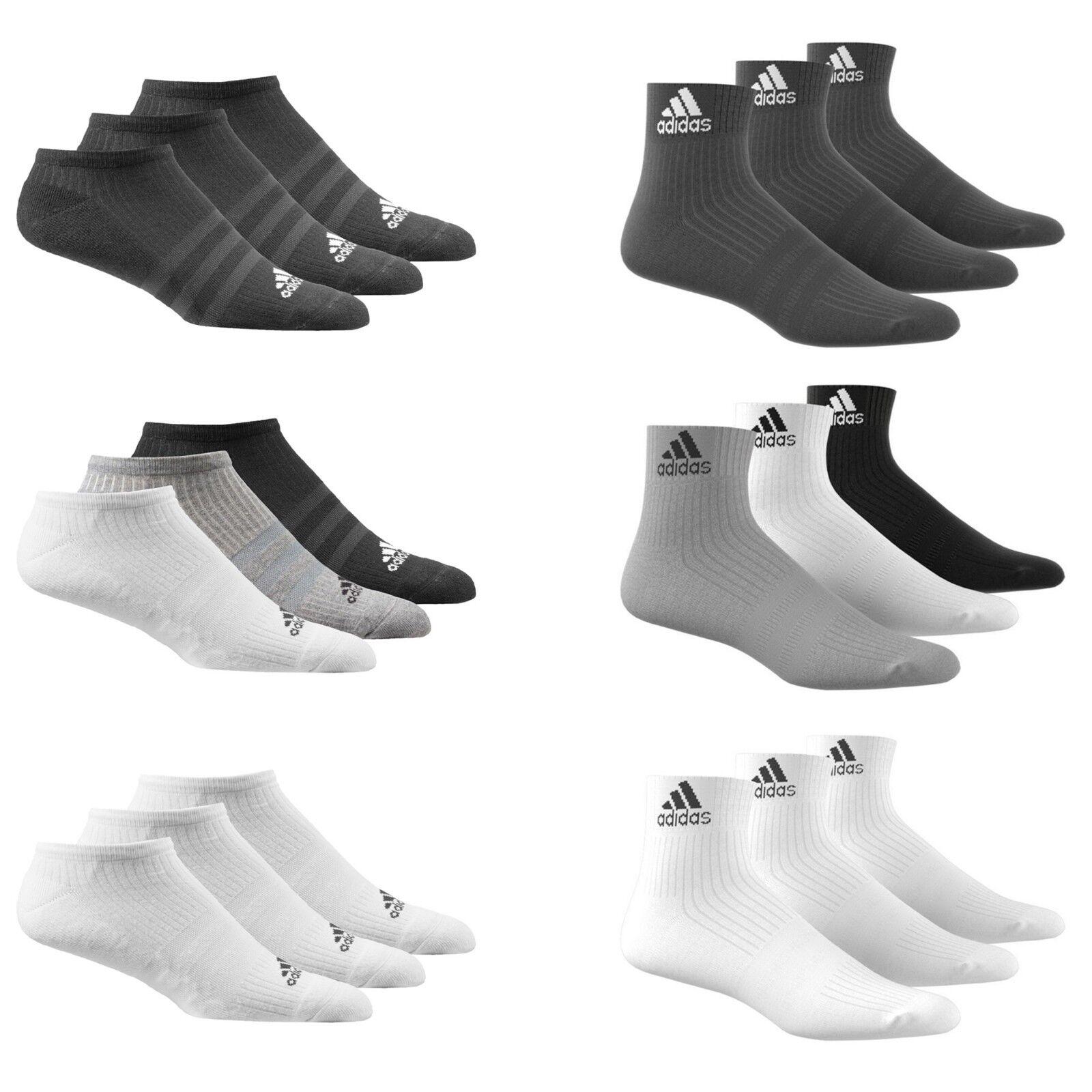 Adidas Socken 3 Paar Herren Damen Baumwolle Ankle Liner viertel Sport Größen UK