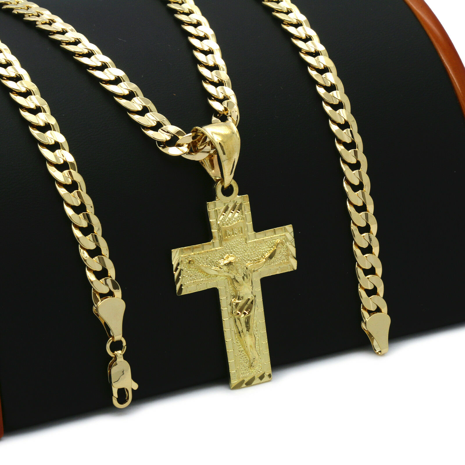 Jewellery - Mens 18k Gold Plated JESUS CROSS(S)  Hip-Hop Pendant 6mm Cuban Chain Necklace