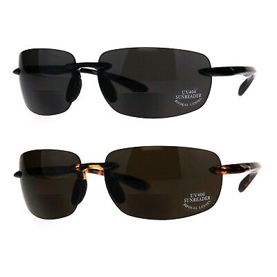 Mens Rimless Warp Sport Sunglasses With Bifocal Reading (Sunglasses With Reading)