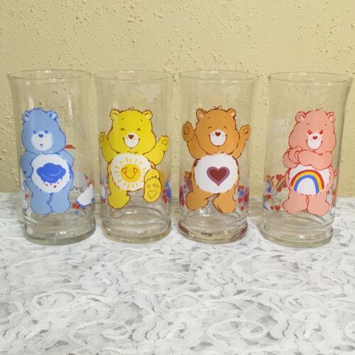 Vtg 1983 CARE BEARS Grumpy Cheer Tenderheart Funshine Glasses/Tumblers