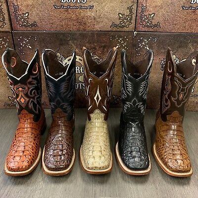 MEN'S RODEO COWBOY BOOTS GENUINE LEATHER WESTERN SQUARE TOE BIKER BOTAS RANCH