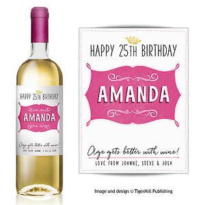 PERSONALISED pink wine bottle label Valentine Birthday Wedding Graduation gift