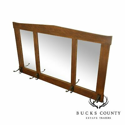 Stickley Mission Collection Oak 3 Glass Hall Mirror with Hooks Hall Mirror Hooks