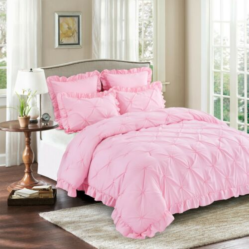 HIG 5 Piece Comforter Set Pinch Pleat Scallop Fringe Bedding Collection - Pink