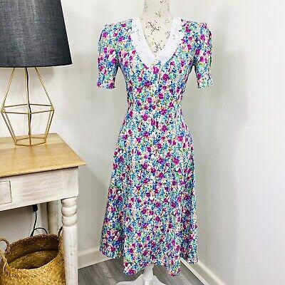 80s Dresses | Casual to Party Dresses Vintage 80s Cliques Midi Dress Floral Cottagecore Prairie Lace Collar Size 8 10 $35.11 AT vintagedancer.com